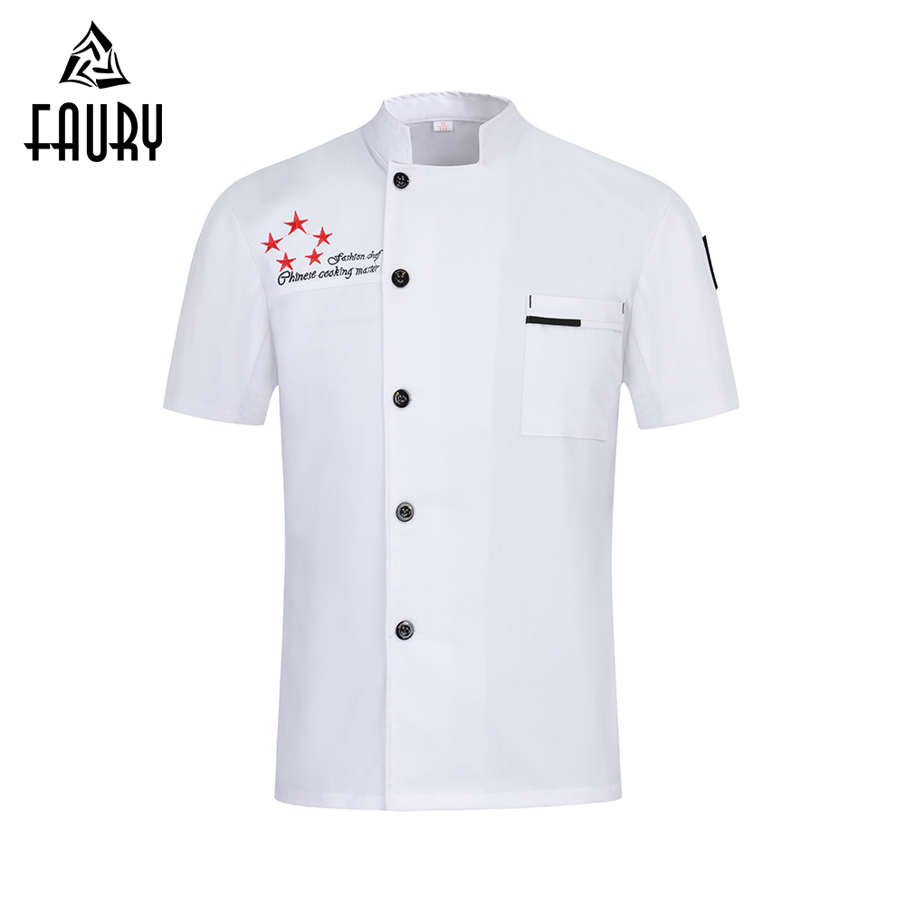 New 2019 High Quality Chef Jacket Short Sleeve Cooking Clothes Unisex Kitchen Restaurant Uniform Hotel Work Shirt Men Women