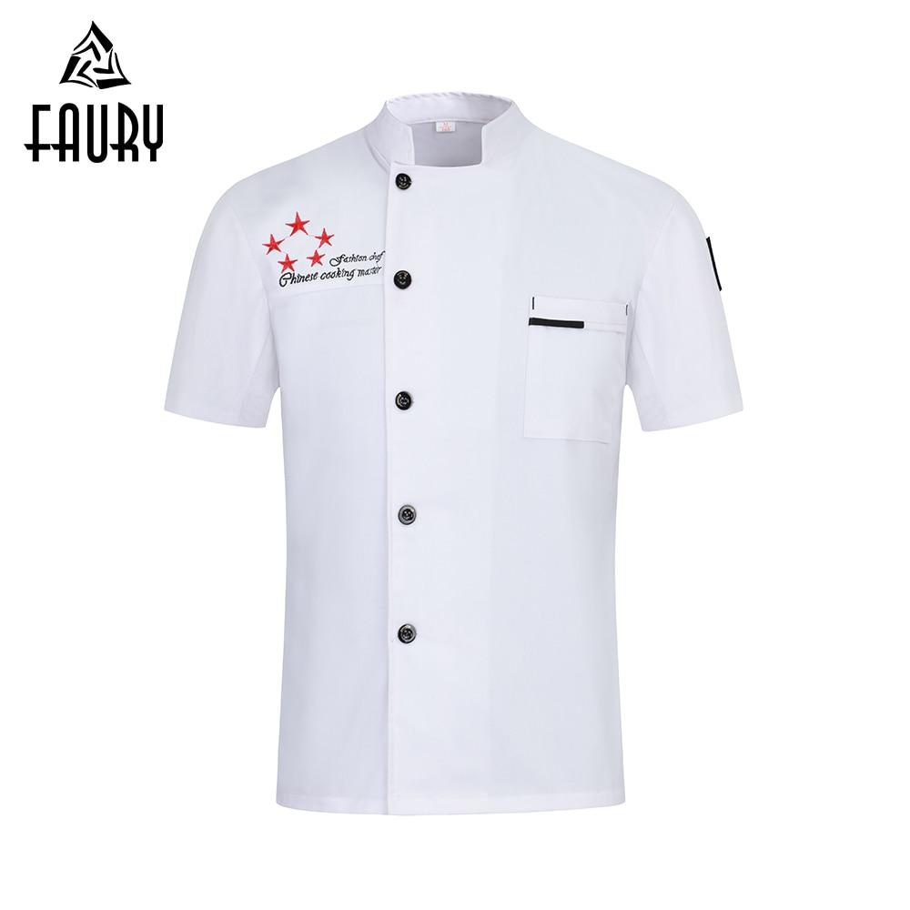 New 2019 High Quality Chef Jacket Short Sleeve Cooking Clothes Unisex Kitchen Restaurant Uniform Hotel Work Shirt Men Women