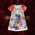 2017 Runway Designer The Latest Summer Dress Women's High Quality Appliques Our Lady Print Gold Line Embroidery Mini Dress