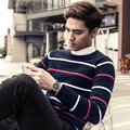 Male winter sweater stripe o-neck plus velvet thermal basic pullover sweater male sweater