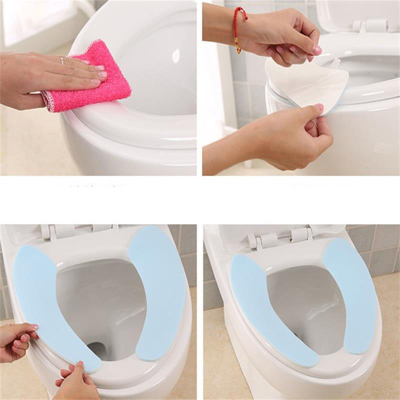 Image 5 - A pair Plain Color Paste Toilet Stickers Flannel Thickening Washable Bathroom Closestool Seat Cushion Cover Warm Home Decoration-in Toilet Seat Covers from Home & Garden