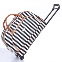 Men Travel Luggage Suitcase Large Capacity Trolley Bags Korean Handbag Leisure Handbag Folding Boarding Tote Bag on Wheels Women