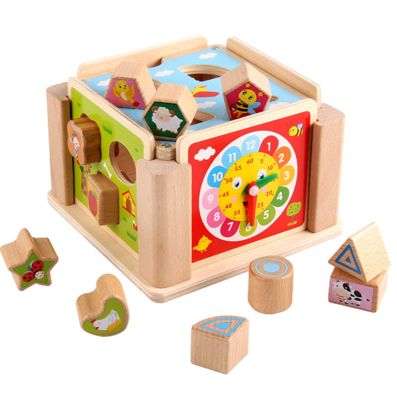 Montessori Educational Wooden Toys Geometric Montessori Materials Clock Toys For Children Early Learning Juguete Madera UE1164H montessori interests of wooden toys multi function box learning children present wooden blocks