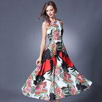 Maxi Dresses Women Floral Printed High Waist Vestidos Mujer Sleeveless O Neck Tank Dress Feminine Plus
