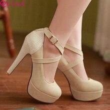 QUTAA Moda Plataforma Mulheres Bombas Sexy Sapatos De Salto Alto Saltos Finos Rodada Sapatos de Plataforma Do Dedo Do Pé das Mulheres Sapatos de Casamento Tamanho 34-42(China (Mainland))