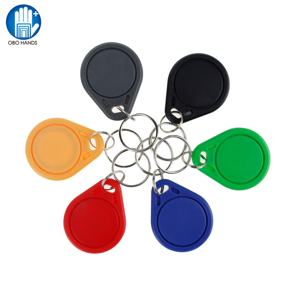 цена на (Pack of 10pcs)RFID Keychains 13.56 MHz NFC Tag Token Key Ring IC Tags M1 S50 Compatible RFID Keyfobs Card Multi Color Read Only