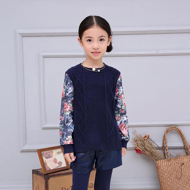 Primavera Outono Crianças Camisola Do Natal Meninas Roupas Crianças Blusas Marinha Cópia Da Flor de Manga Longa Pequeno Outwear Criança Jumpers