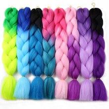 Ali MoKoGoddess 60 Colors Ombre Kanekalon Braiding Hair 24 Inch 100g/piece Synthetic Crochet Hair Extensions Bulk Hair