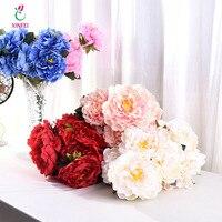 Xinfei 1 букет Европейский Довольно Свадебный пион искусственного шелка Букет Флорес Невеста украшения дома дешевые искусственные цветы