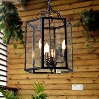 Лофт стиль педант свет американский кантри ретро Клетка лампа творческий ресторан бар дома освещение железной клетке с стекло тенты