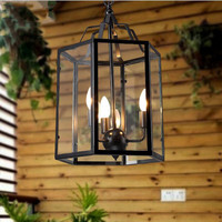 LOFT style pedant light American country retro Birdcage lamp Creative restaurant bar home lighting iron cage with glass shade
