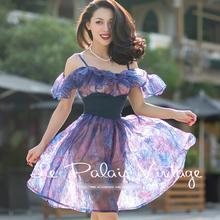 Le Palais Vintage 2016 Autumn New Purple Organza Perspective Accept Waist Ruffle Slash Neck Puff Harness Dress Women's Clothing