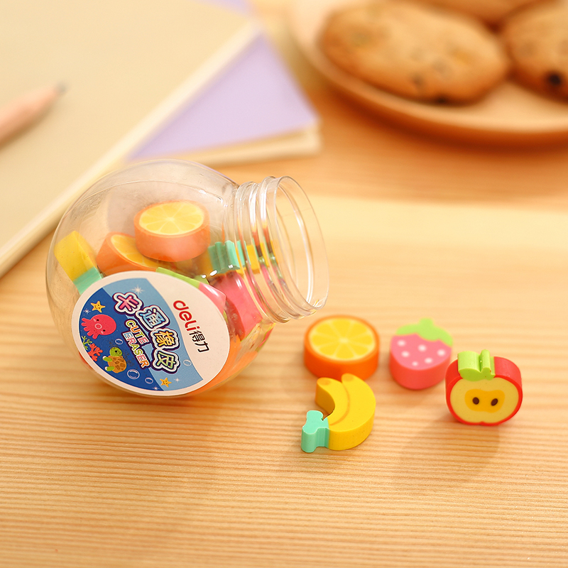 20pcs/barrel  Cute Cartoon Mini Eraser Delicate Fruit And Animal Erasers Gifts For Children Student School Supplies