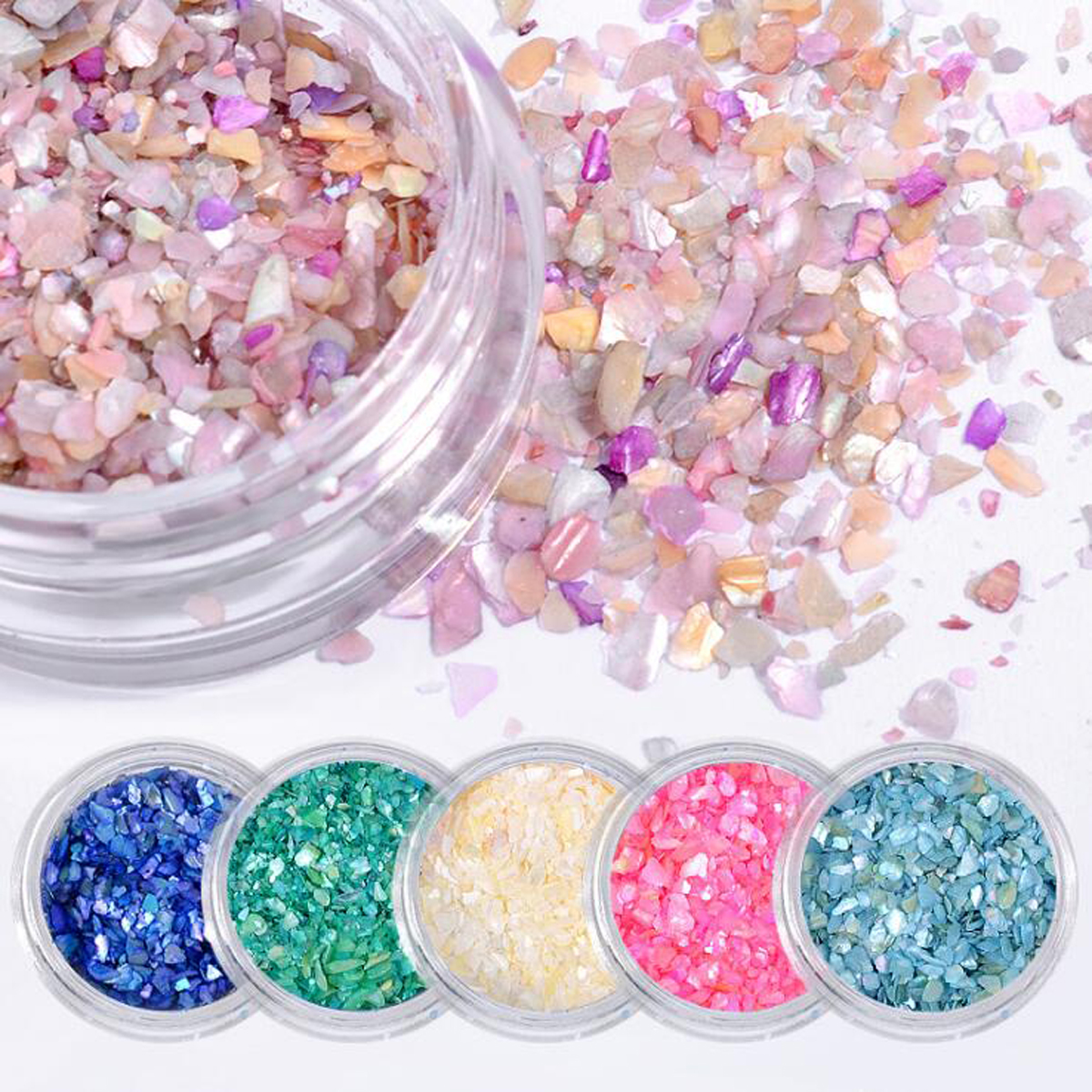 Nail Art Glitter Jewelry Set Natural Shell Small Crushed Stone Sequins Symphony DIY Nail Patch Decorations 6box/set