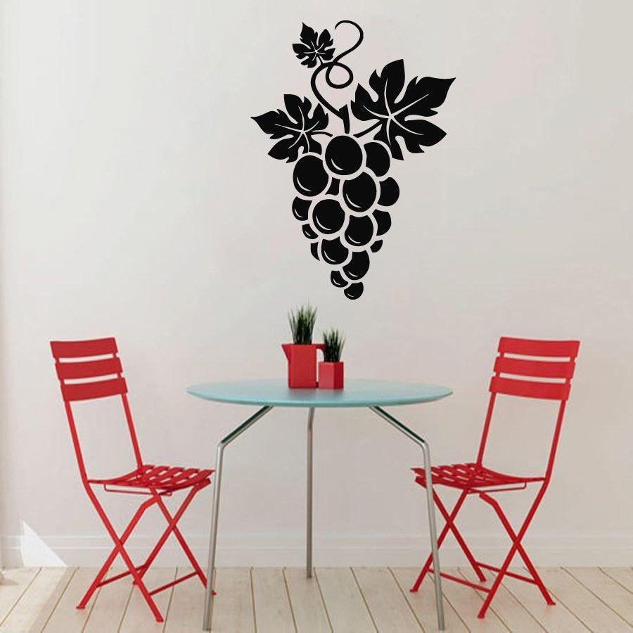 Wall Decals Grapes Floral Design Kitchen Vinyl Sticker Murals Wall ...