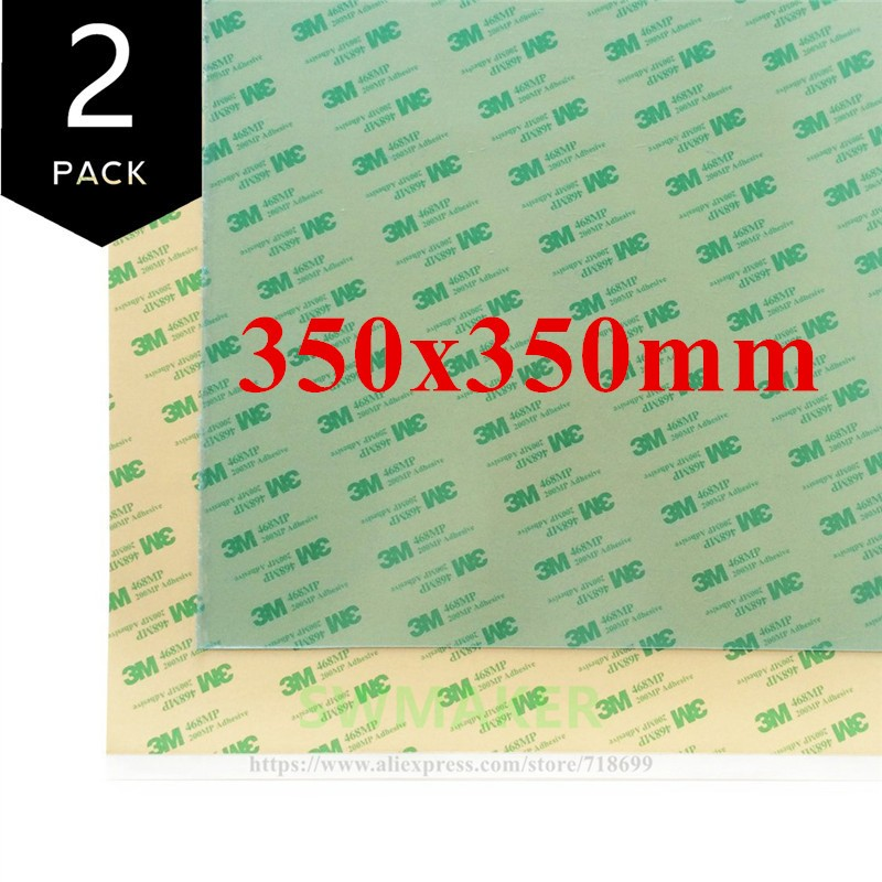 2pack PEI Sheet 350x350mm 350*350mm 3D Printing Build Surface with 3M 468MP Adhesive Tape for Voron 2.1 3D printer