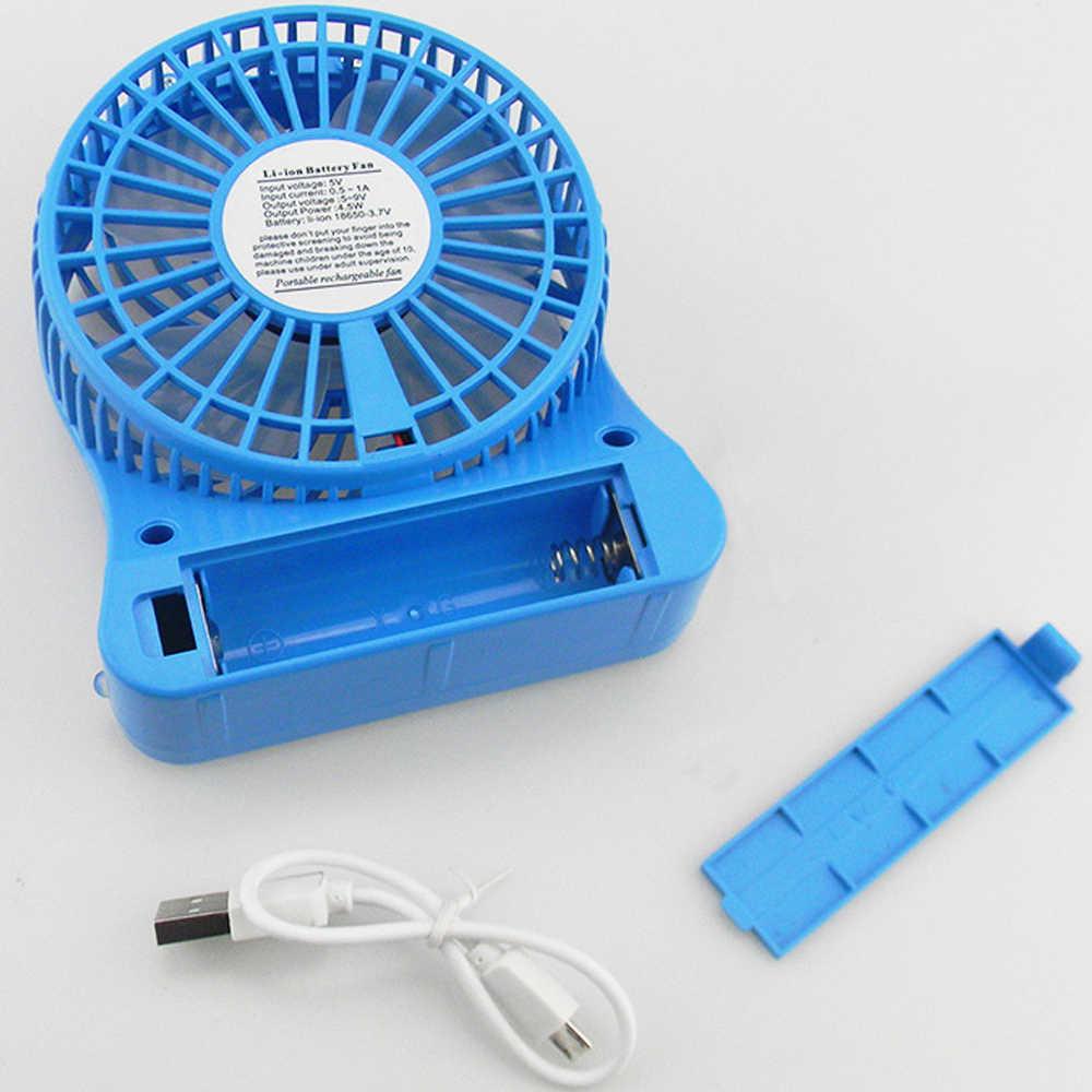 พัดลม Mini แบบพกพา 3 ความเร็วปรับแฟนบ้าน Offsetesk Travel LED Light USB พัดลมมือถือ