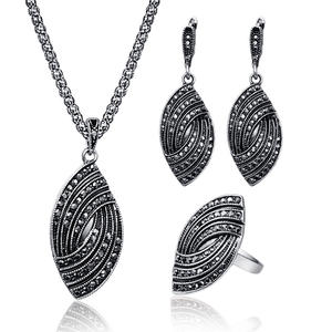 WURUIBO Pendant Black Crystal Women Jewelry Sets Necklace