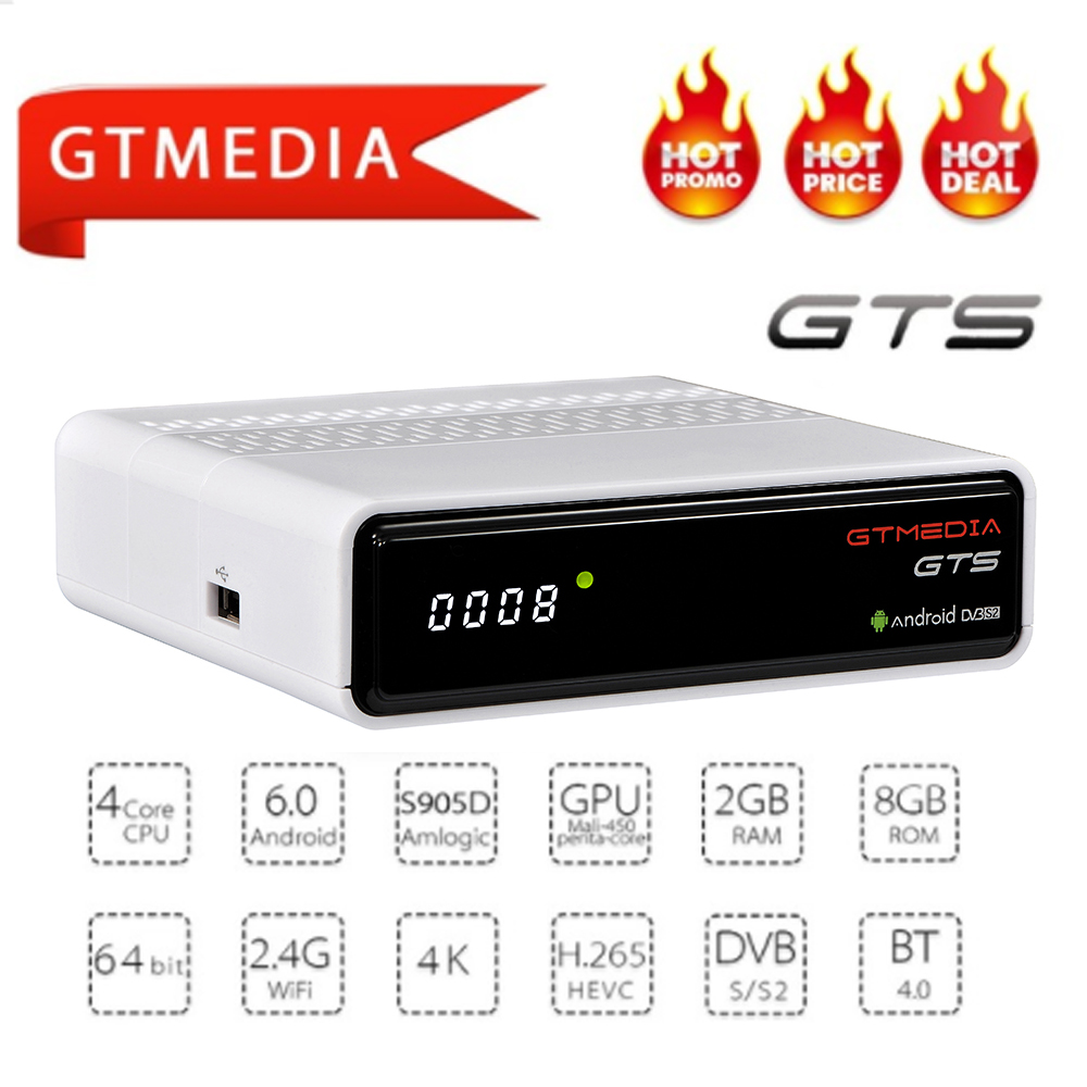 GTmedia GTS Android 6.0 4 K TV BOX Combo DVB-S2 récepteur Satellite décodeur 2 GB RAM 8 GB ROM Amlogic S905D BT4.0 décodeur intelligent