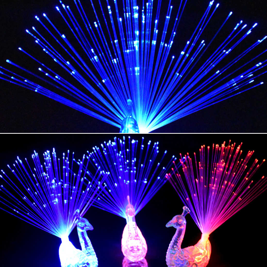 Christmas Decor 1pcs Peacock Finger Light Colorful LED Light-up Rings Party Gadgets Kids Intelligent Toy for Brain Development