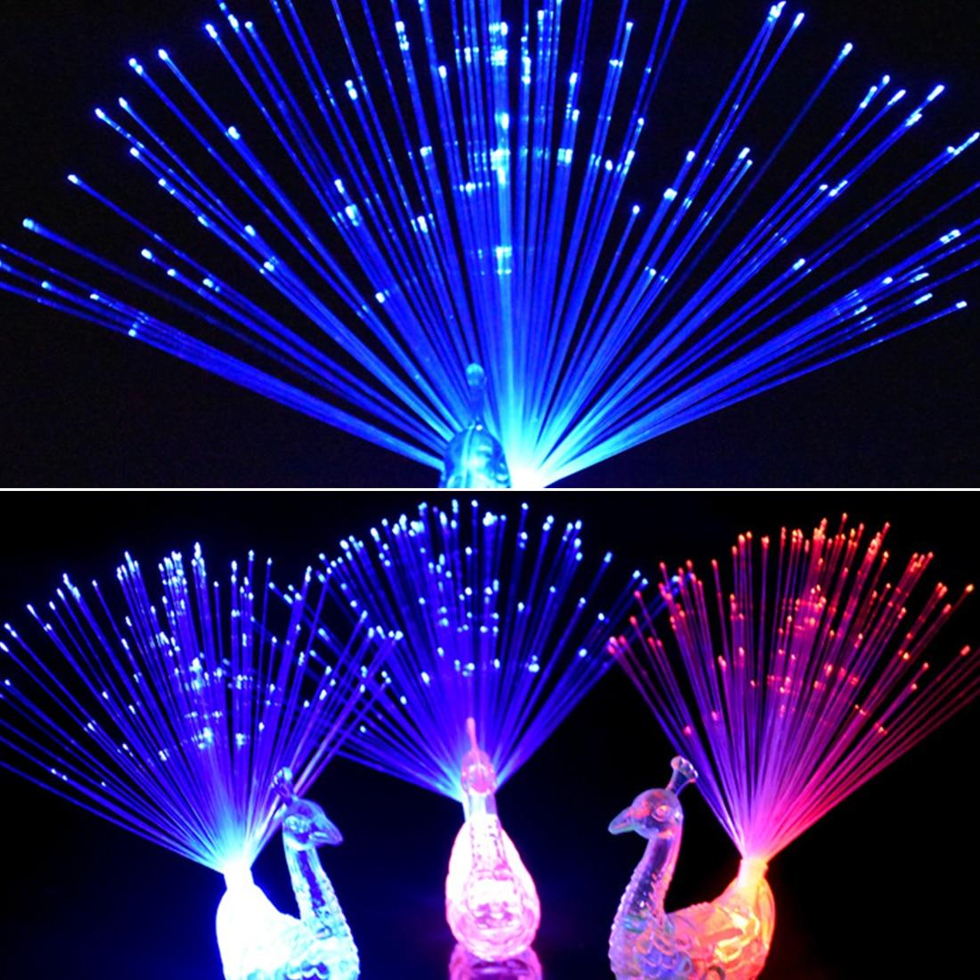 Christmas Decor 1pcs Peacock Finger Light Colorful LED Light-up Rings Party Gadgets Kids Intelligent Toy For Brain Development