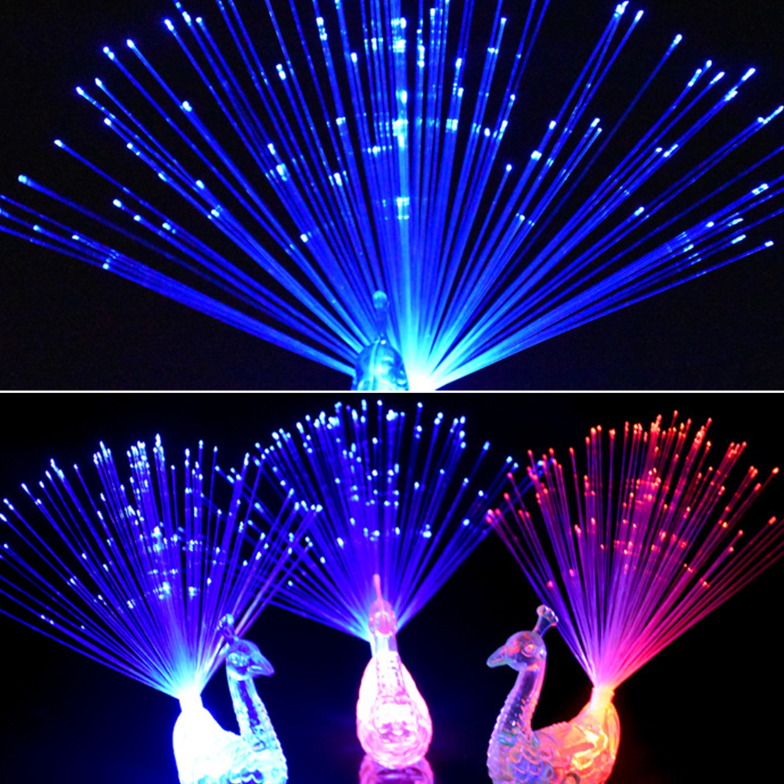 Colorful LED Light-up Rings Party Gadgets Kids Intelligent Toy 1pc Peacock Finger Light For Party Gift Color Random