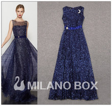 Free Shipping 2013 Spring/Summer Newest Runway Europe Fashion Star Printed Moon Corsage Pin Navy Blue Long Prom Dress RD130122(China)