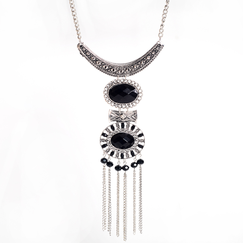 Hot fashion long vintage necklaces pendants big tassel necklace hot fashion long vintage necklaces pendants big tassel necklace silver beaded necklace crystal jewelry statement necklace in pendant necklaces from aloadofball Image collections
