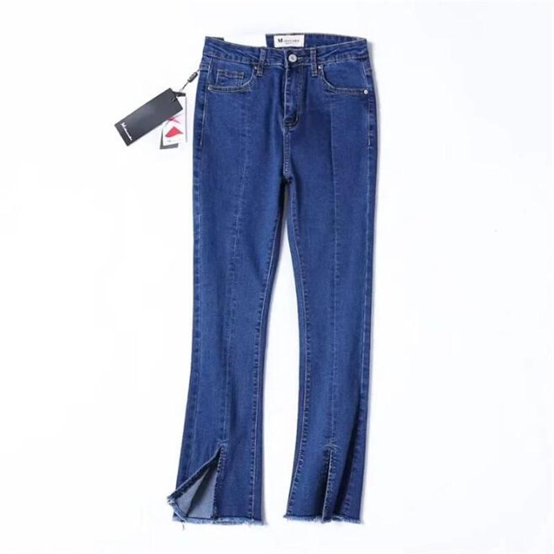 2017 Simple Solid Women Skinny Jeans Denim Fringe Split Flare Pants High Waist Casual Ankle-Length Trousers Female L1564 new and original mig30j502l 2pcs lot