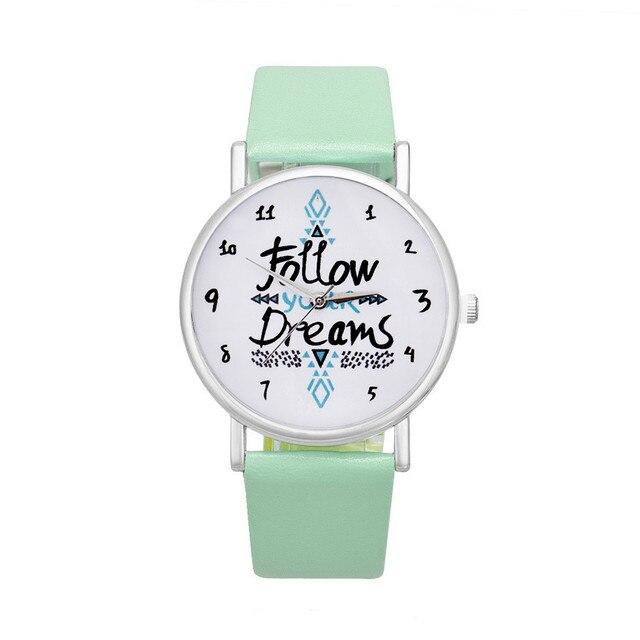 Delicate watch women watch NewHot Girls Bracelet Watch Women Follow Dream Words