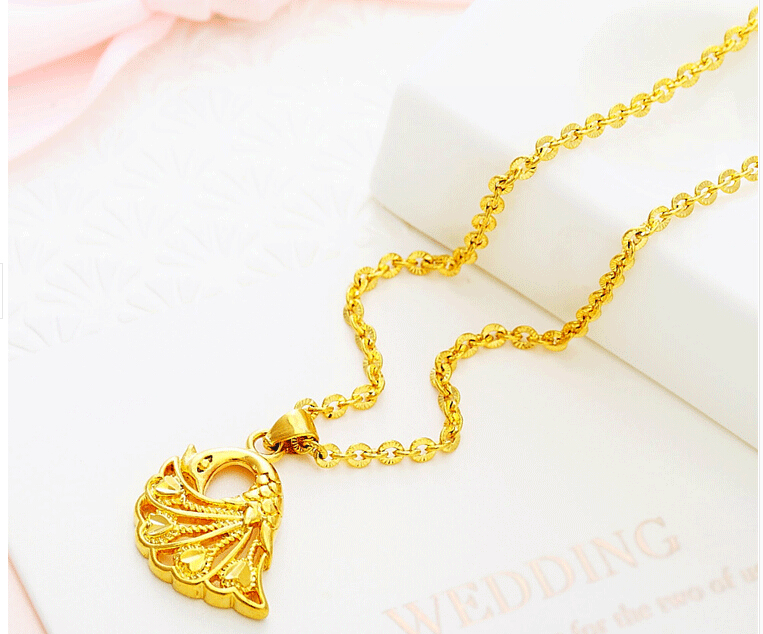 The new female models 18k gold necklace gold pendant gourd peacock the new female models 18k gold necklace gold pendant gourd peacock pendant in pendant necklaces from jewelry accessories on aliexpress alibaba group aloadofball Images
