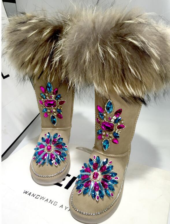 2019 new princess Korean leather fox fur sand beige high snow boots high-end custom rhinestone chain shoes  2019 new princess Korean leather fox fur sand beige high snow boots high-end custom rhinestone chain shoes