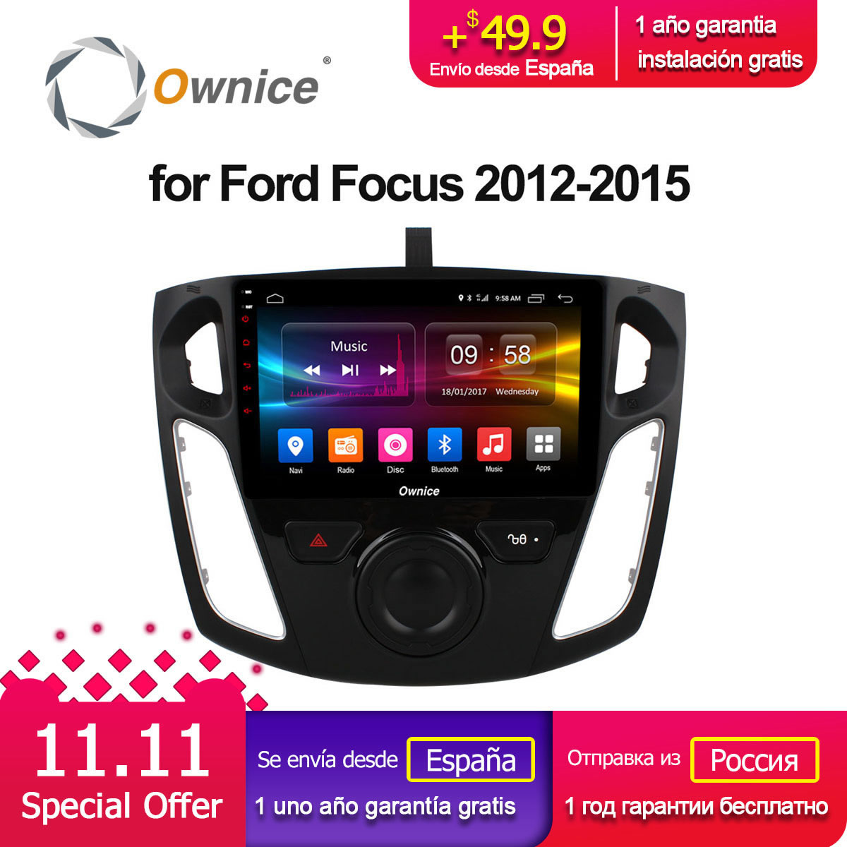 Ownice C500+ G10 Android 8.1 Car radio player GPS For ford focus 3 2012 2013 2014 2015 Octa Core 2GB RAM 16GB ROM Support DVD 4G