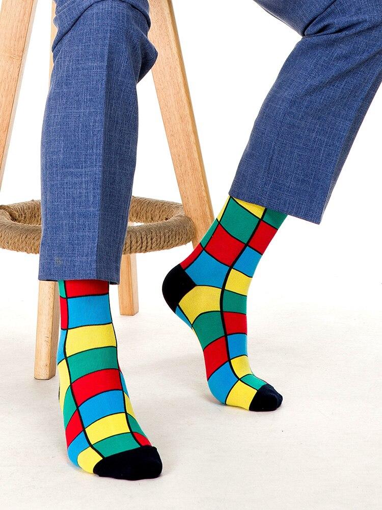 SANZETTI Crew Socks Gifts Geometric Plaid Colorful Stripe Cotton-Design Men Hip-Hop Dot