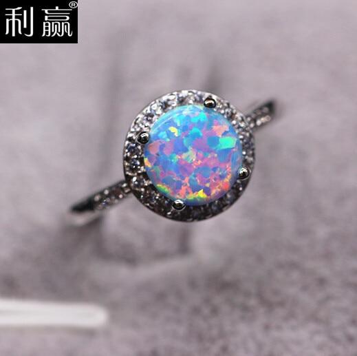 Platinum Diamond And Blue Opal Ring Fine Jewelry