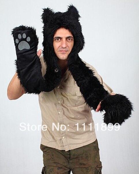 Hot-selling Autumn   Winter Fashion Cartoon Animal Hat Faux Fur hats  Birthday Gift-Black Wolf Scarf Glove 1310 Free Shipping 178ef21926c