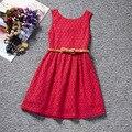 Estilo Coreano meninas do bebê roupas de verão rendas vestido sem mangas flor vestido de arco para crianças infantis crianças traje vestido infantil