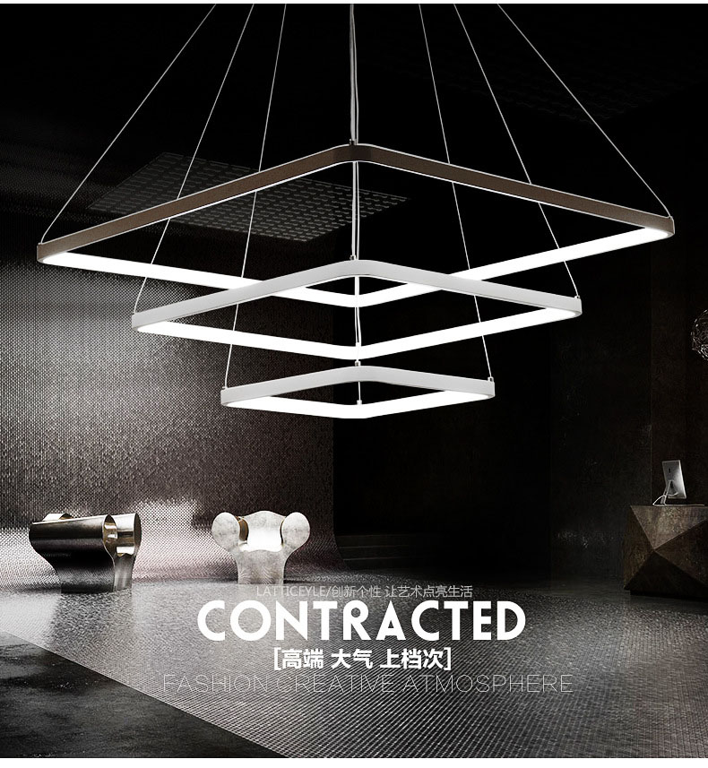 ФОТО Fashion simple square square pendant chandelier light luminaire suspendu moderne pendant lamp metal white luminaire suspendu