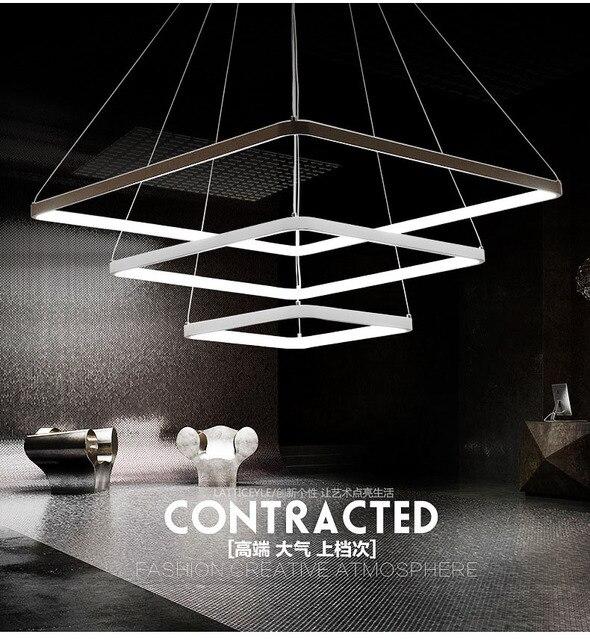 Fashion simple square square pendant chandelier light luminaire