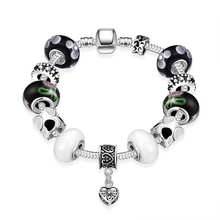 2016 European Fashion sweet charm transfer heart glass Beads Silver Plated Bracelets&Bangle Unique Jewelry Famous Gift Pulseras