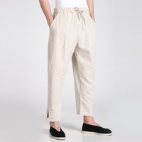 New Arrival Beige Chinese Men S Kung Fu Trousers Cotton Linen Pants Martial Arts Clothing Size