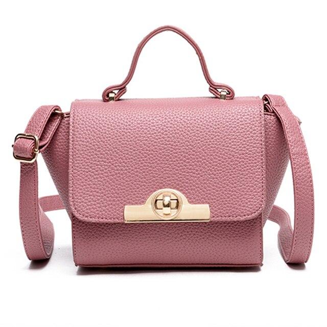 Известный бренд Трапеция сумка розовый Для женщин кожа Сумки Роскошные  поворотным замком плеча сумка маленькая Сумки 7bb1b86af31