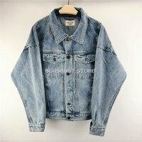 Best Version fear of god Distressed Raglan Denim Jackets Dropped Shoulder Vintage Stone Washed Oversized Coats Free Shipping