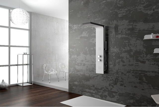Thermostatic Solid Surface Stone Shower Panel Wall Mounted Shower Column  Body Massage Jets Sprinkler RS0054