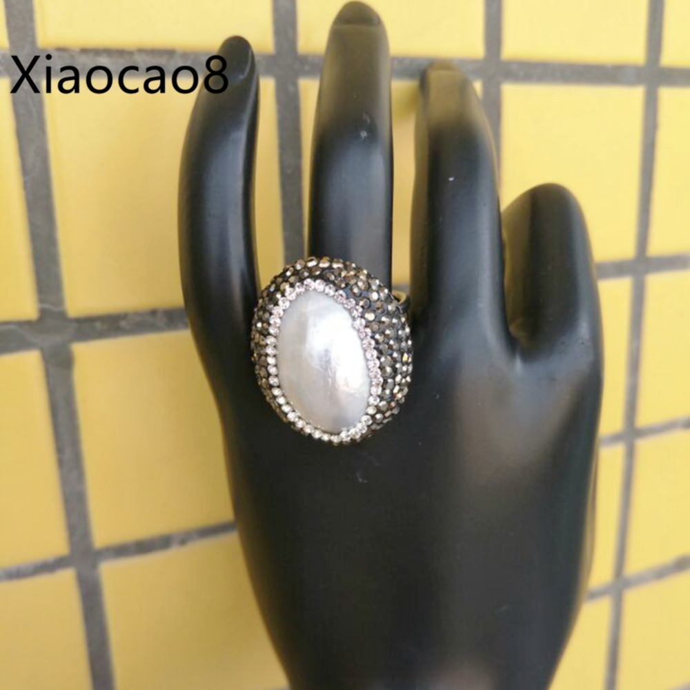White Shell Pearl Ring Unisex Open Adjustable Rings for Women Men Fashion Jewelry Bague Femme Newest Trendy Women's Rings Gift fashion party jewelry rings for women gold color cz snake dames ringen design christmas gift bague femme open rings ka0167