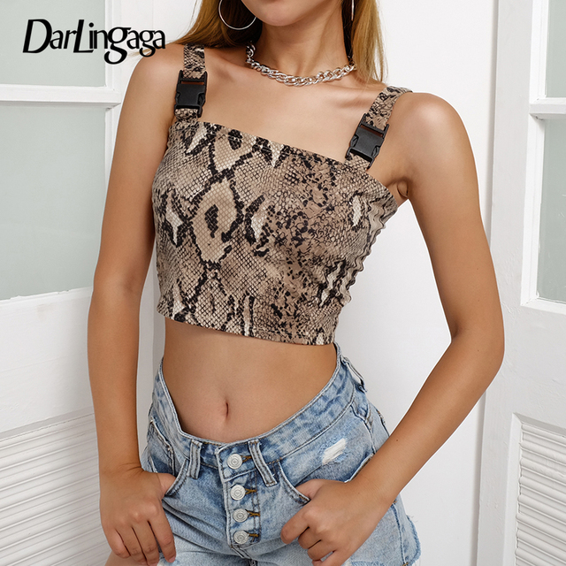 049d582858 Darlingaga Streetwear snake print tank top vest buckle fashion snakeskin crop  top women backless cropped sexy