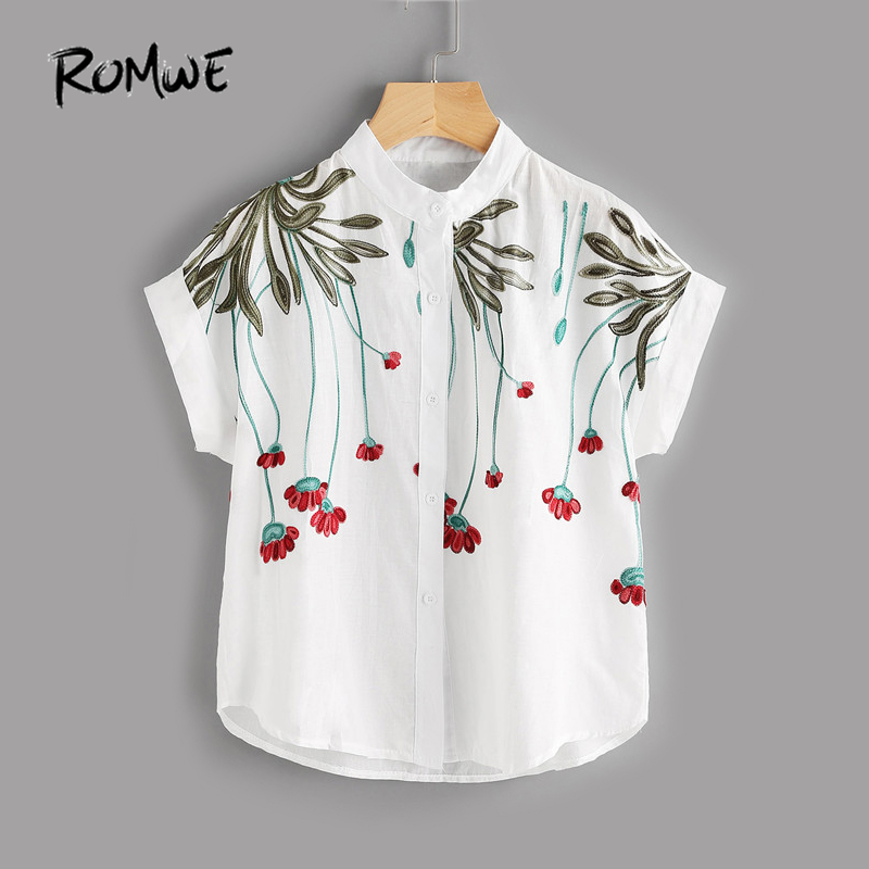 ROMWE Stereo Embroidery Batwing   Blouse   Casual Women Tops Summer Beige Short Sleeve Embroidered Women Summer   Shirt