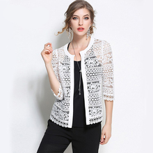 2017 плюс Размеры женщи Одежда 5XL 4XL XXXL Женская белая кружевная блузка летний кардиган пальто черный крючком сексуальный женский блузка рубашка