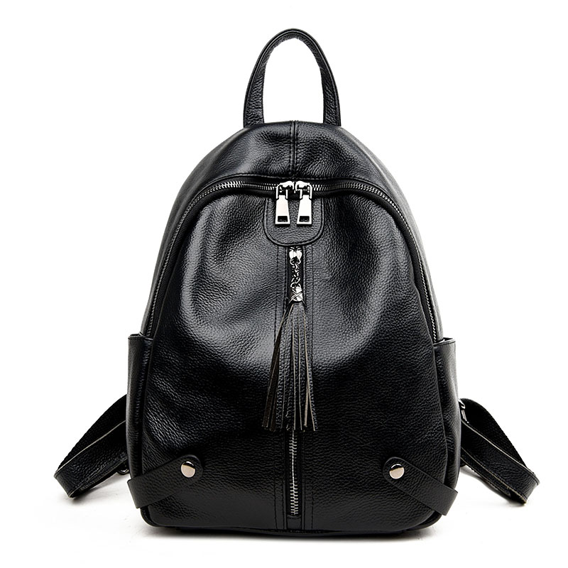 Preppy Style Women's Rucksack Natural Leather Cowhide Female School Bag For Teenager Tassel Daily Pack