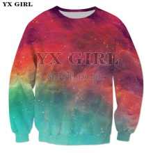 YX Girl Drop shipping Plus size Mens Casual Sweatshirt Autumn Pullover 3d Print Nebula Sweatshirts Unisex Hip Hop Streetwear